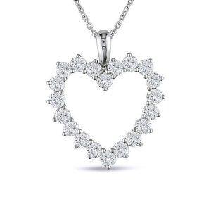 Jewelry - Round Prong Set Diamond Heart Pendant White Gold 1